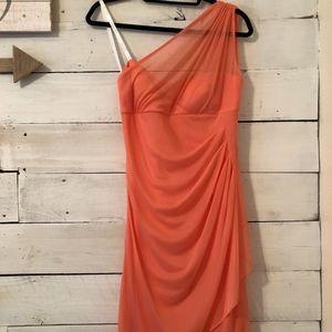 David's Bridal Coral One-Shoulder Dress
